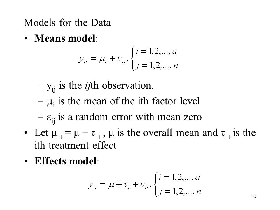 Models for the Data Means model: yij is the ijth observation, i is the mean of the ith factor level.
