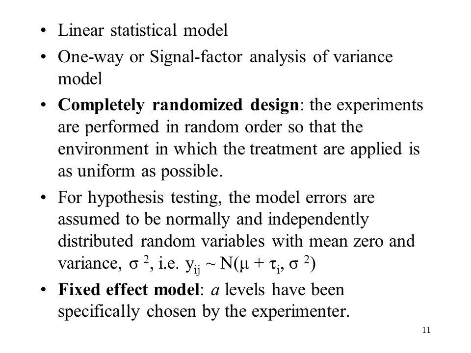 Linear statistical model