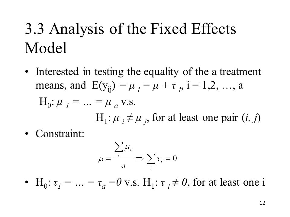 3.3 Analysis of the Fixed Effects Model