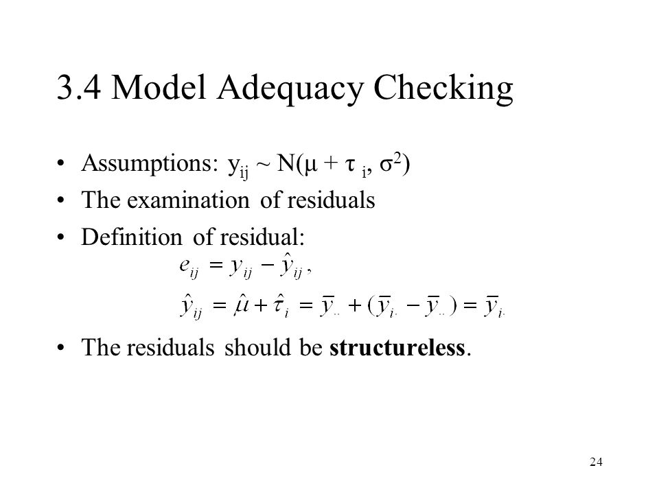 3.4 Model Adequacy Checking