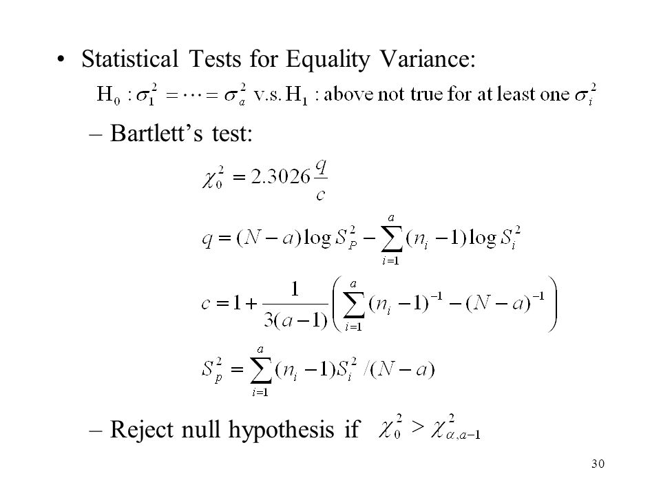 Statistical Tests for Equality Variance: