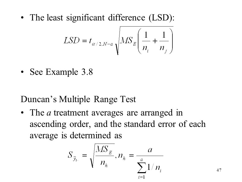 The least significant difference (LSD):