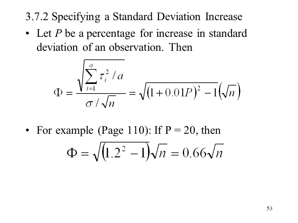 3.7.2 Specifying a Standard Deviation Increase