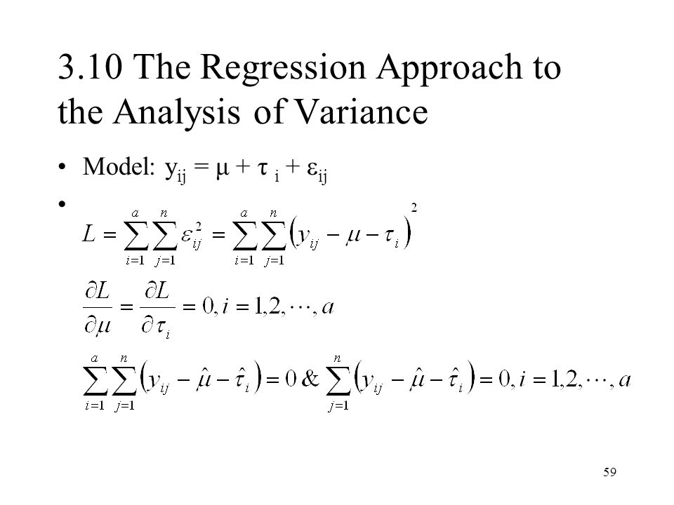 3.10 The Regression Approach to the Analysis of Variance