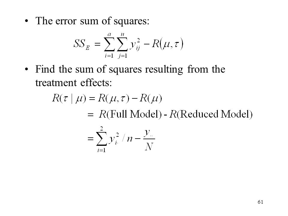 The error sum of squares: