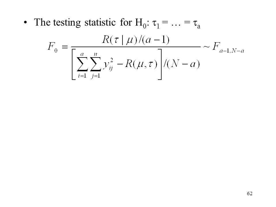 The testing statistic for H0: 1 = … = a
