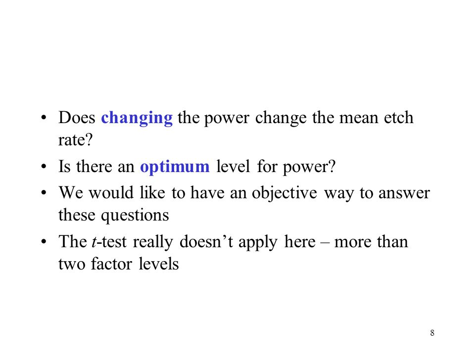 Does changing the power change the mean etch rate