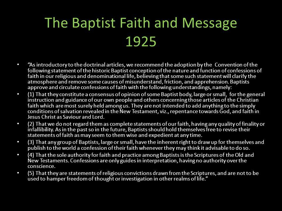 The Baptist Faith and Message 1925
