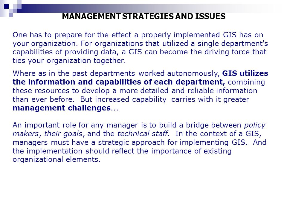 MANAGEMENT STRATEGIES AND ISSUES