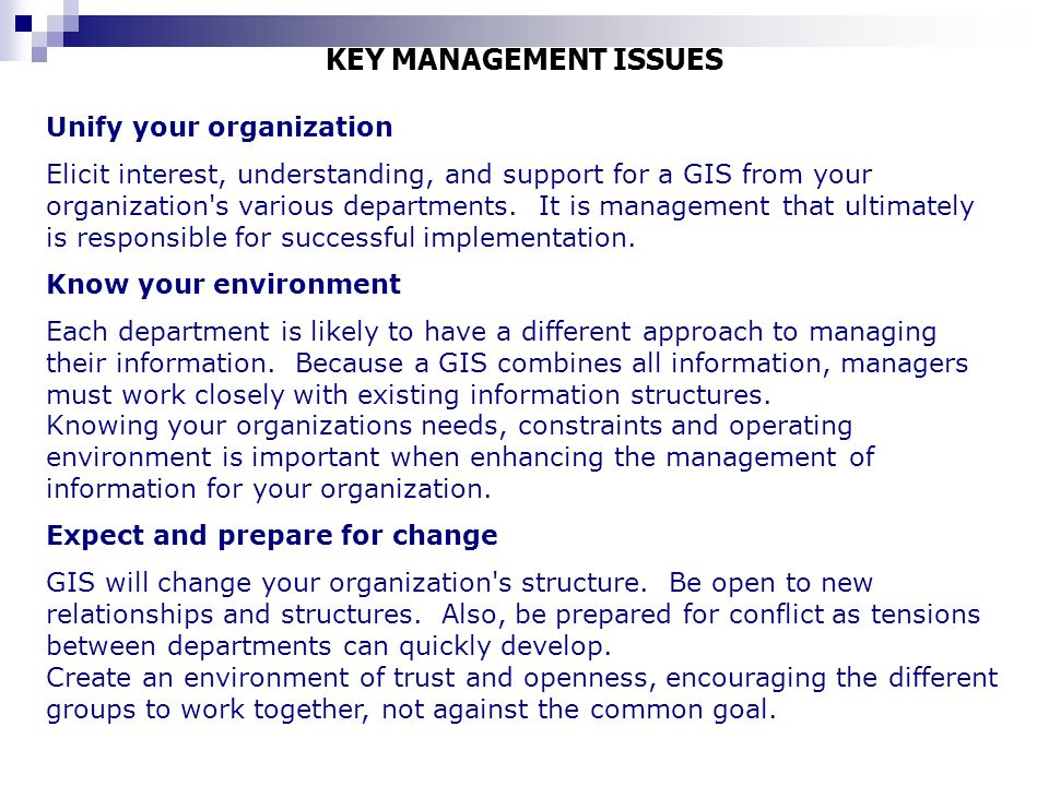 KEY MANAGEMENT ISSUES Unify your organization