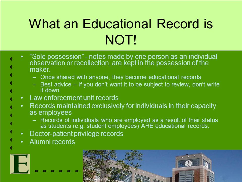 What an Educational Record is NOT!