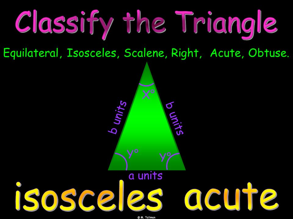 Equilateral, Isosceles, Scalene, Right, Acute, Obtuse.