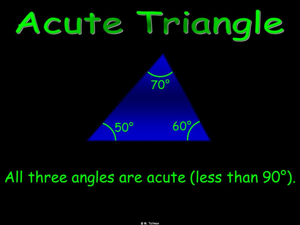 All three angles are acute (less than 90°).
