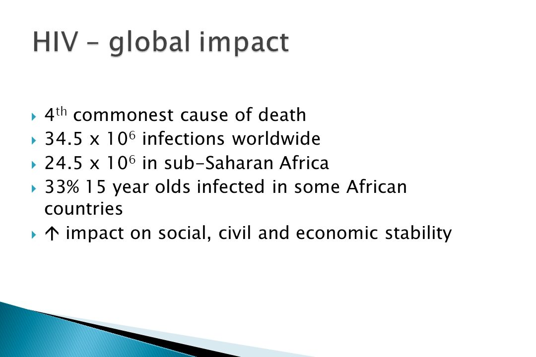 HIV – global impact 4th commonest cause of death