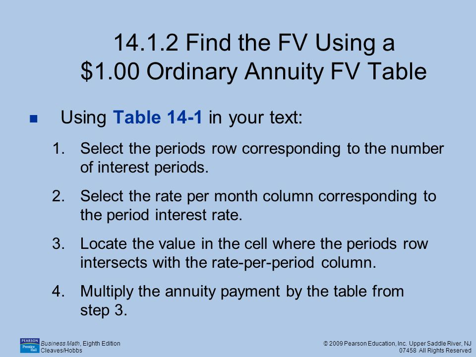 14.1.2 Find the FV Using a $1.00 Ordinary Annuity FV Table