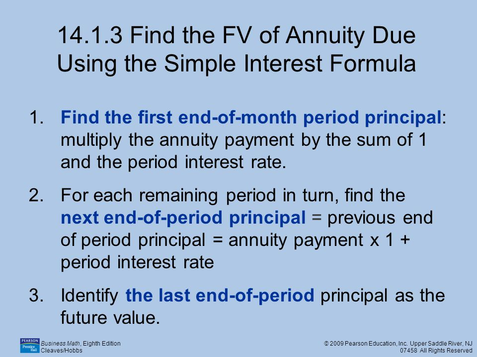 14.1.3 Find the FV of Annuity Due Using the Simple Interest Formula