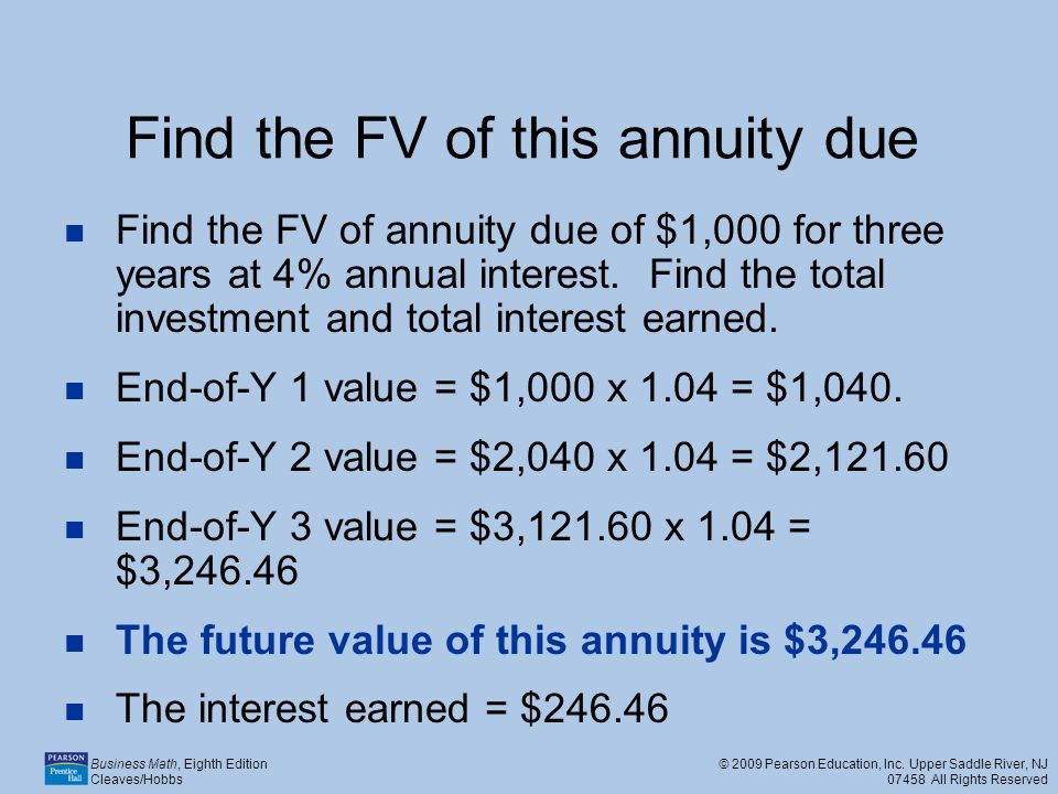 Find the FV of this annuity due