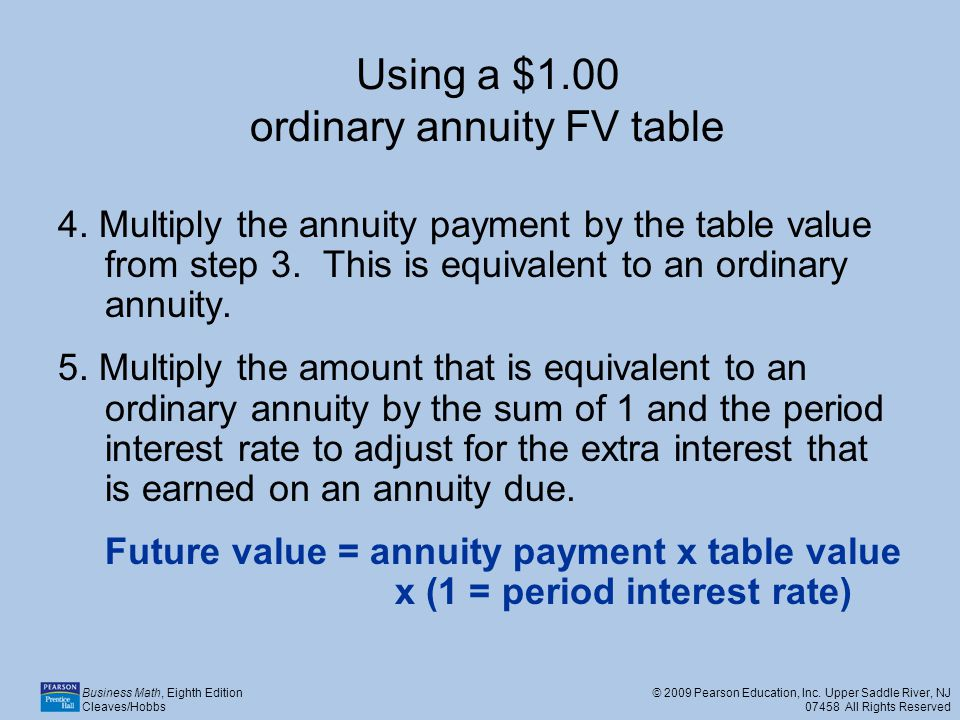 Using a $1.00 ordinary annuity FV table