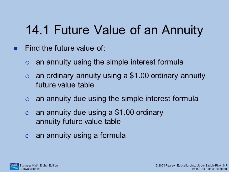 14.1 Future Value of an Annuity