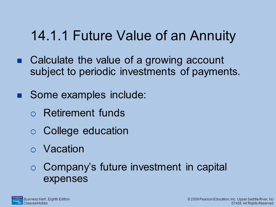 14.1.1 Future Value of an Annuity