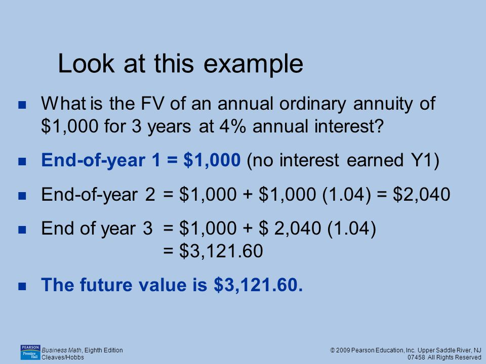 Look at this example What is the FV of an annual ordinary annuity of $1,000 for 3 years at 4% annual interest
