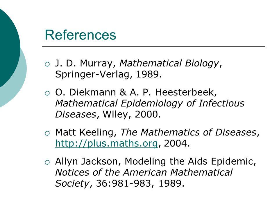 References J. D. Murray, Mathematical Biology, Springer-Verlag, 1989.