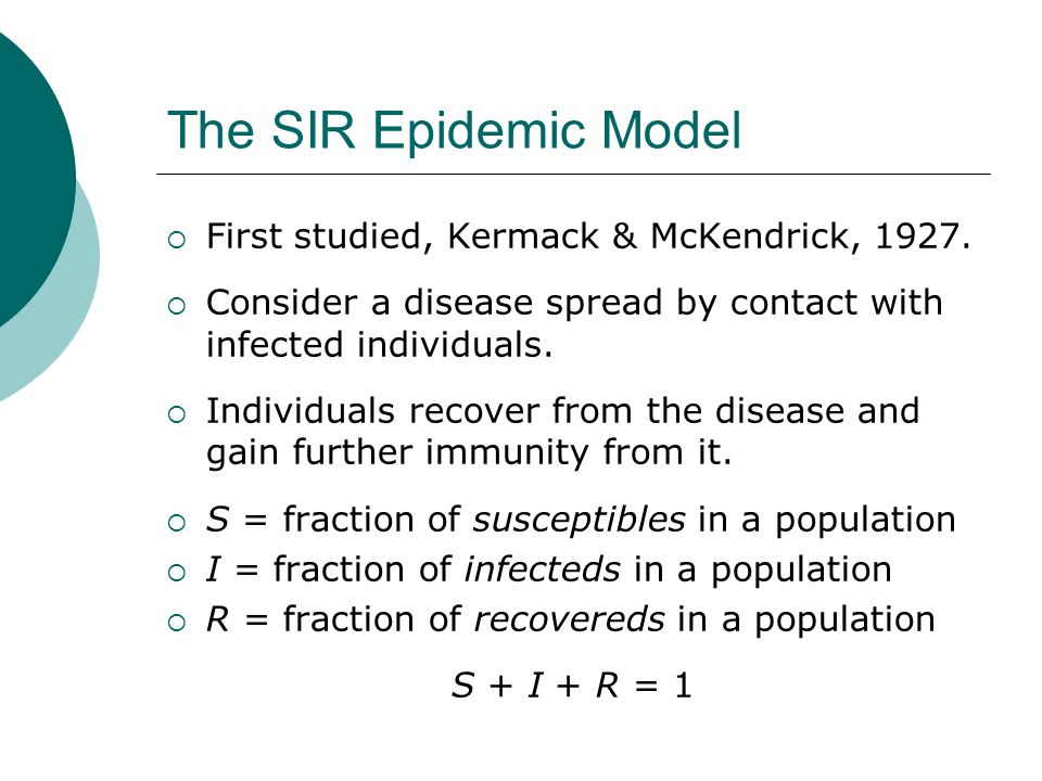 The SIR Epidemic Model First studied, Kermack & McKendrick, 1927.