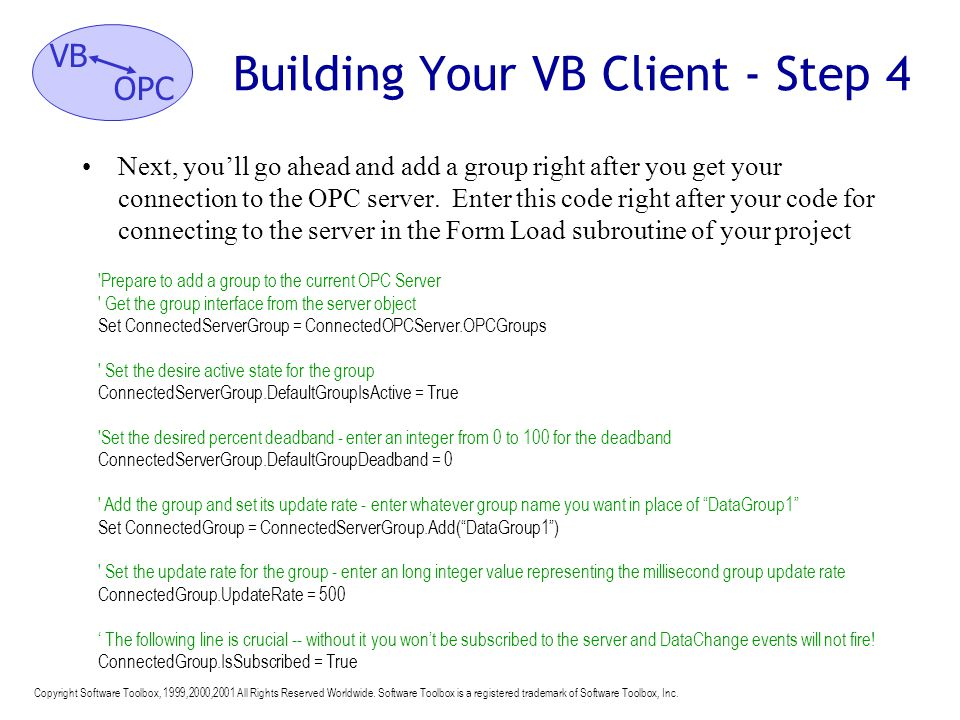 Building Your VB Client - Step 4