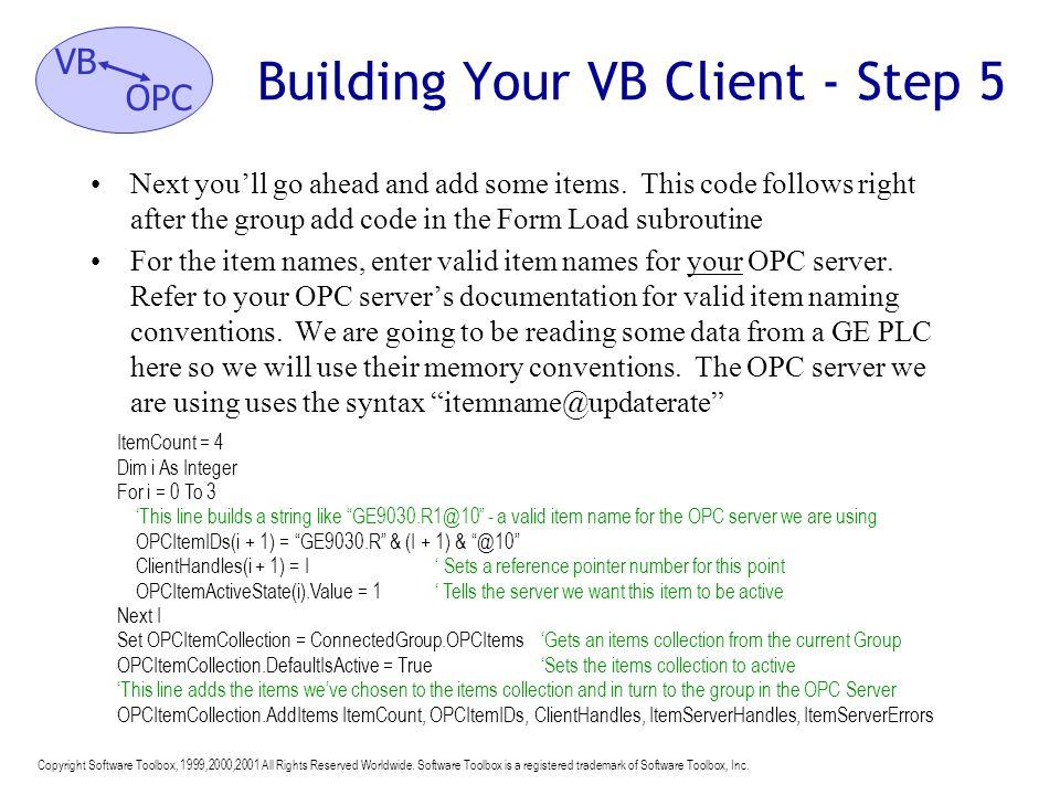 Building Your VB Client - Step 5