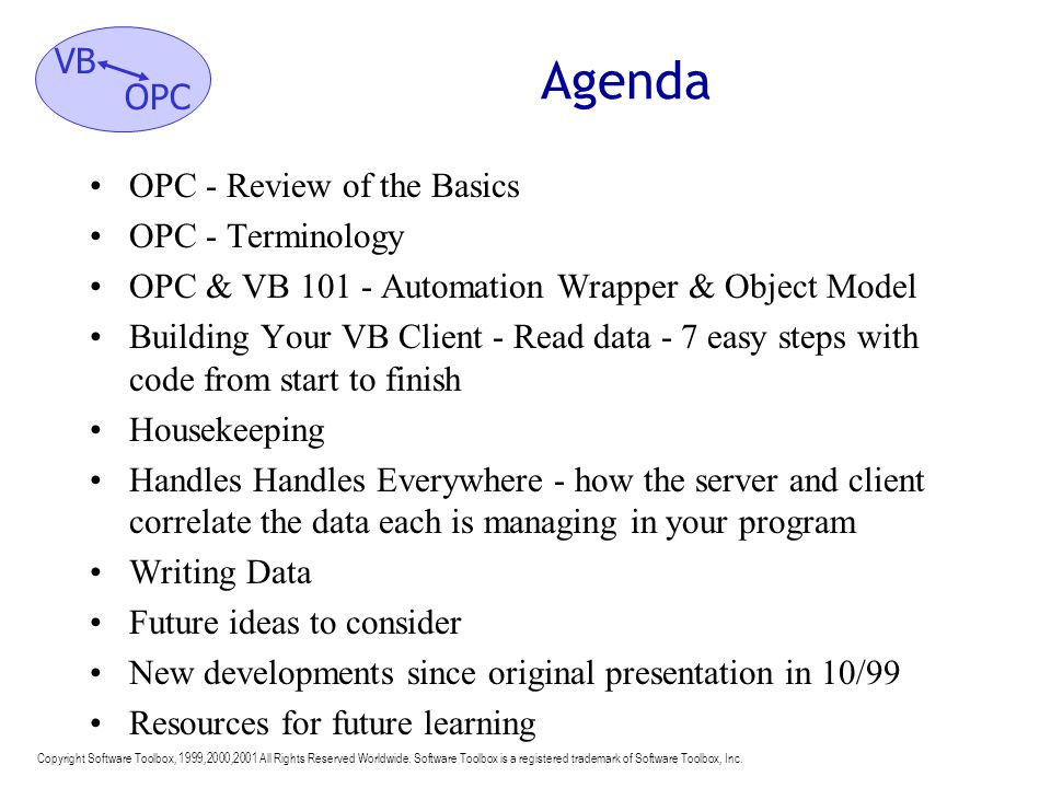 Agenda OPC - Review of the Basics OPC - Terminology