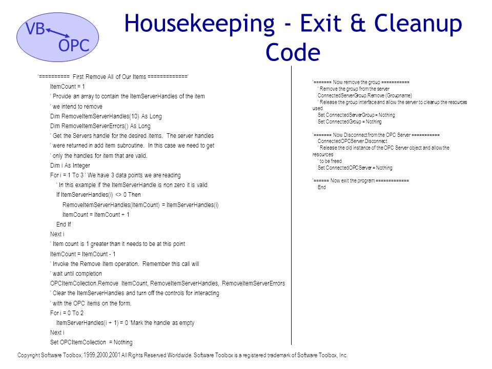 Housekeeping - Exit & Cleanup Code