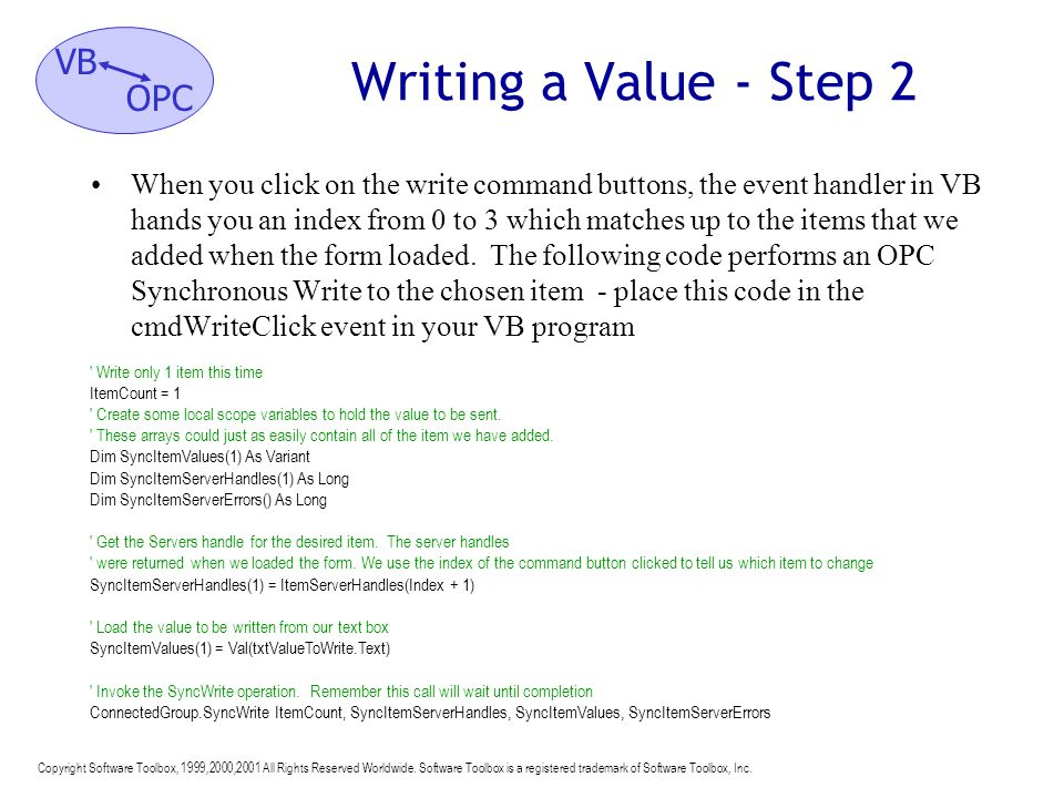 Writing a Value - Step 2