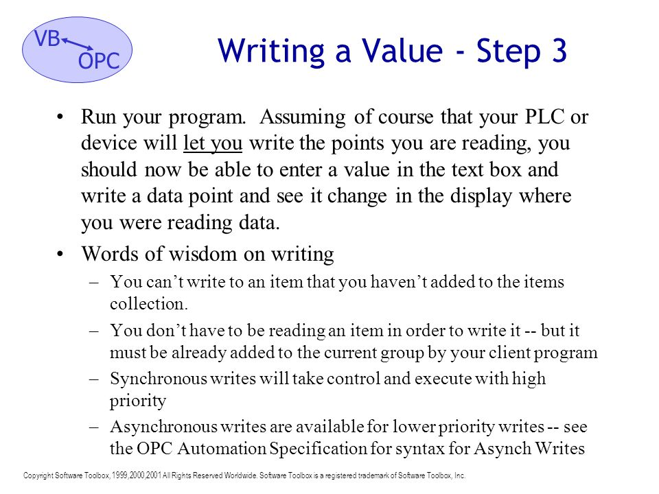 Writing a Value - Step 3