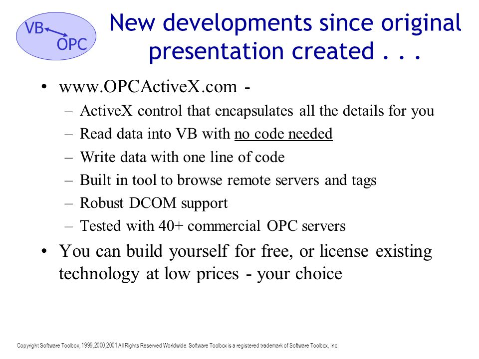 New developments since original presentation created . . .