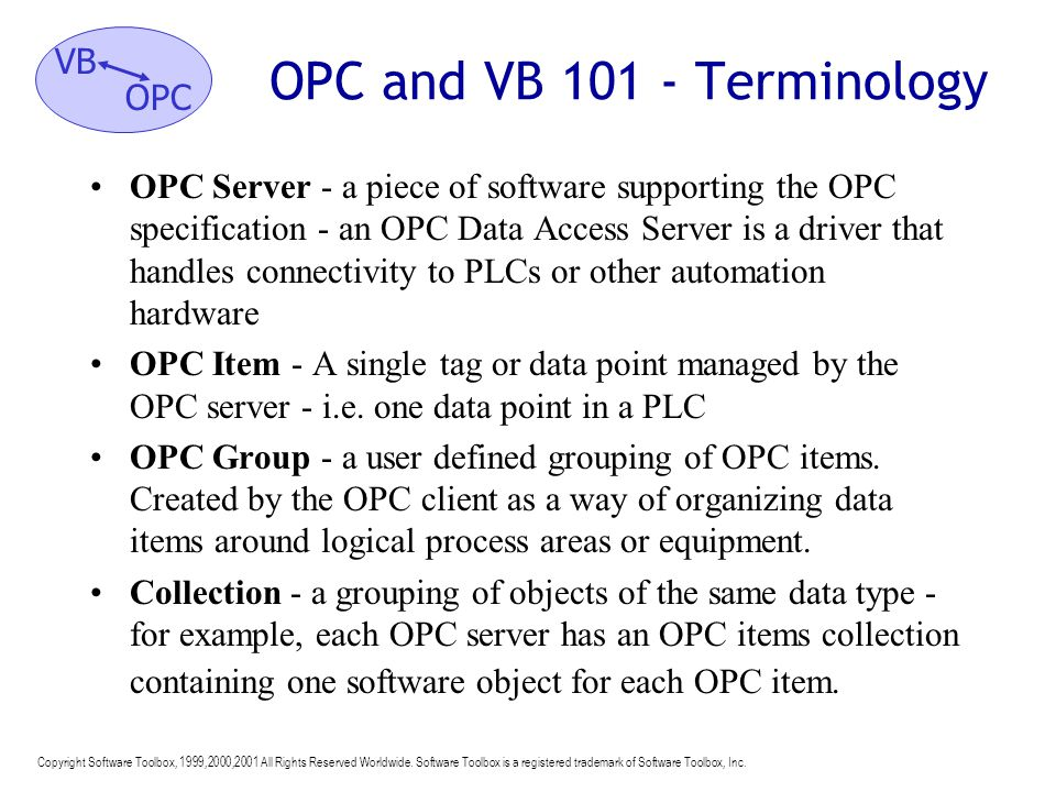OPC and VB 101 - Terminology