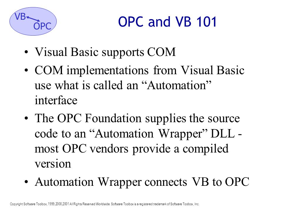 OPC and VB 101 Visual Basic supports COM