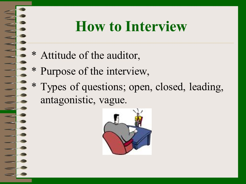 How to Interview Attitude of the auditor, Purpose of the interview,