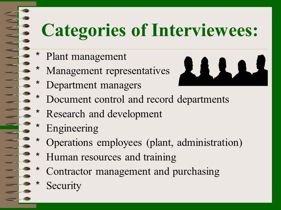 Categories of Interviewees: