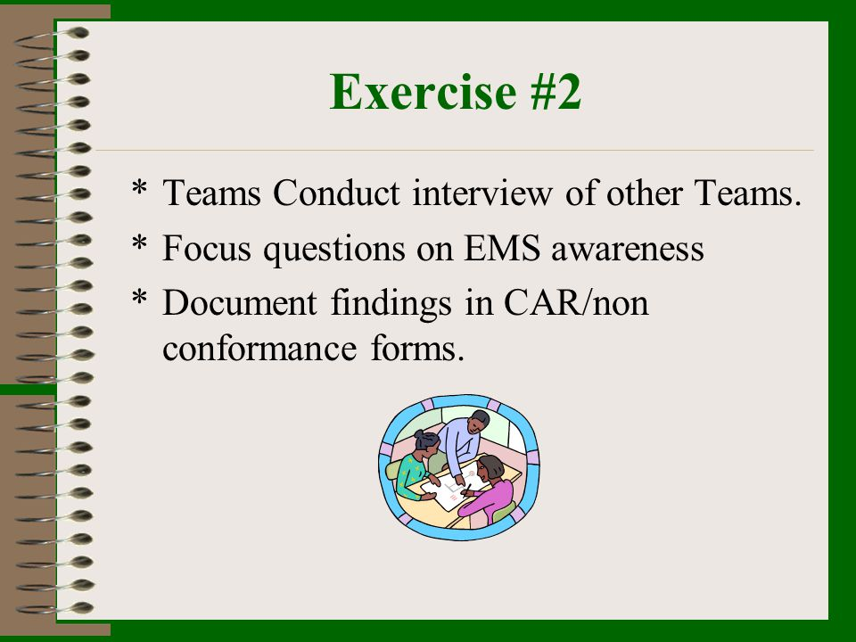 Exercise #2 Teams Conduct interview of other Teams.