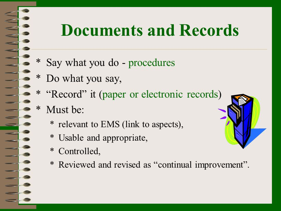 Documents and Records Say what you do - procedures Do what you say,