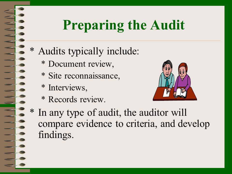 Preparing the Audit Audits typically include: