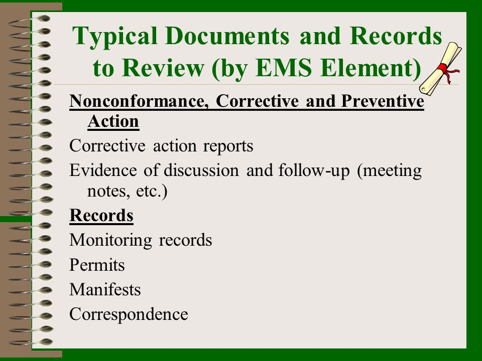 Typical Documents and Records to Review (by EMS Element)