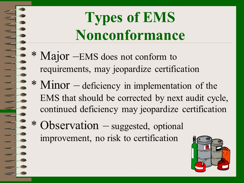 Types of EMS Nonconformance