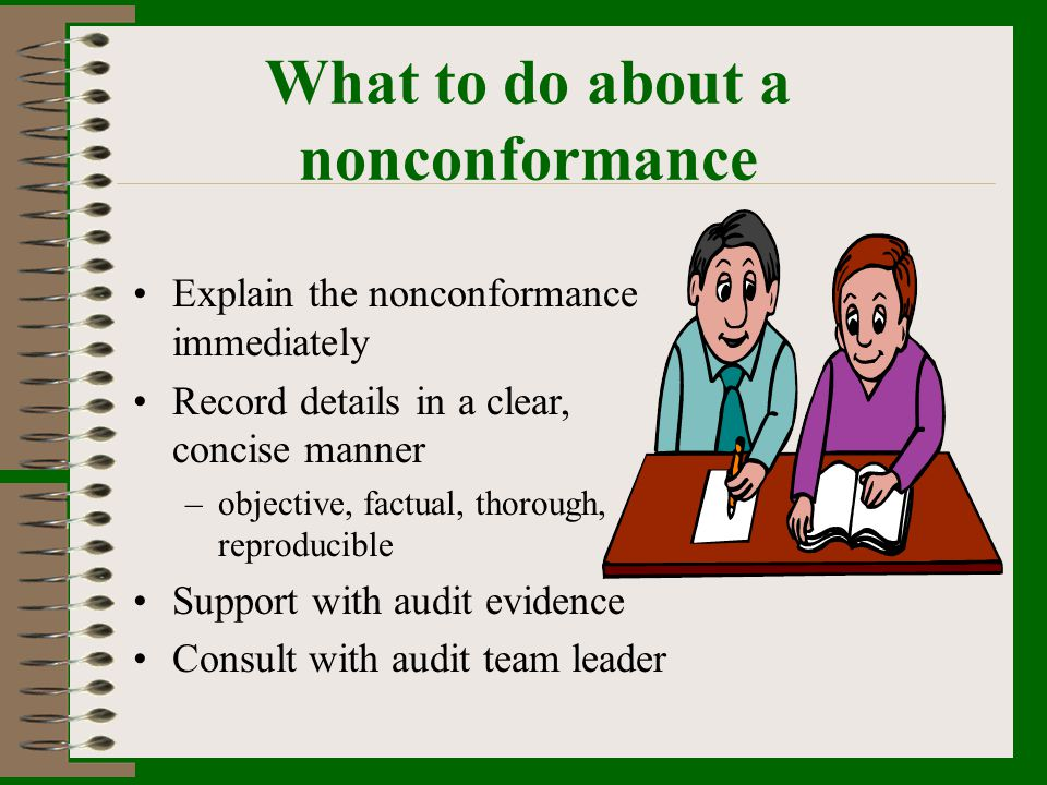 What to do about a nonconformance
