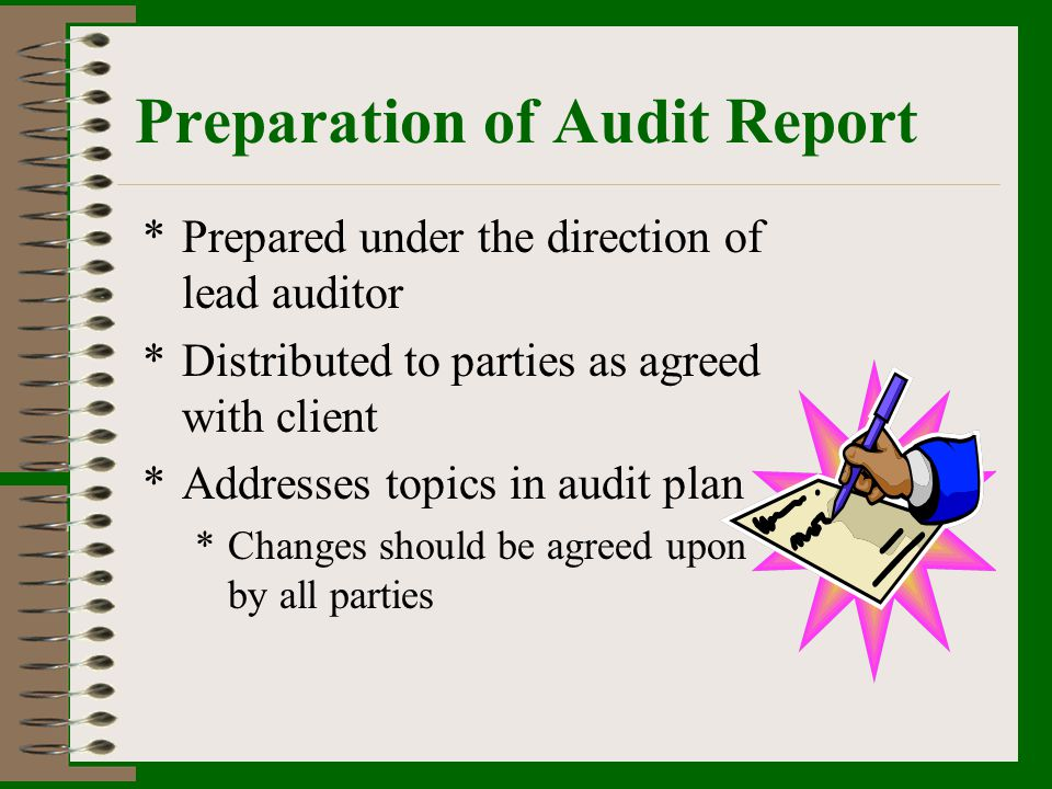 Preparation of Audit Report