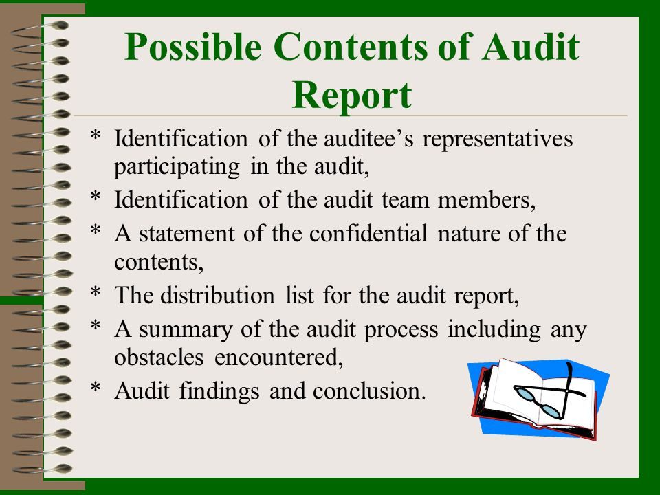 Possible Contents of Audit Report