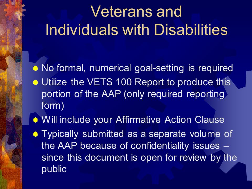 Veterans and Individuals with Disabilities