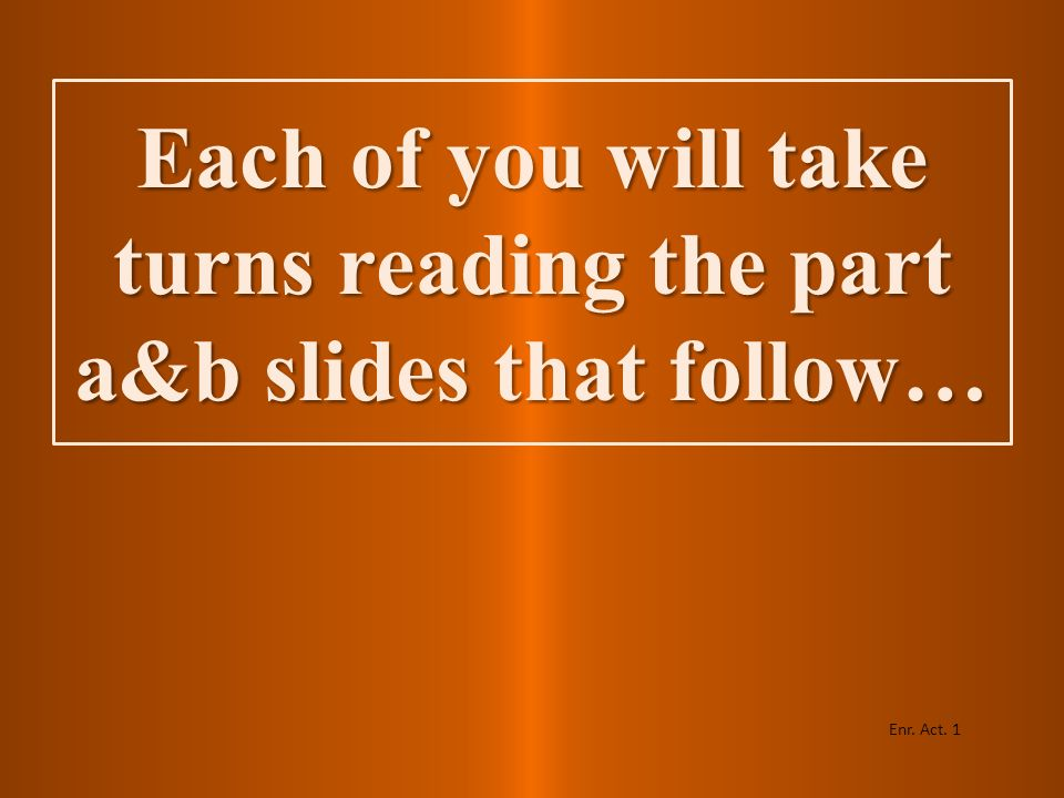 Each of you will take turns reading the part a&b slides that follow…