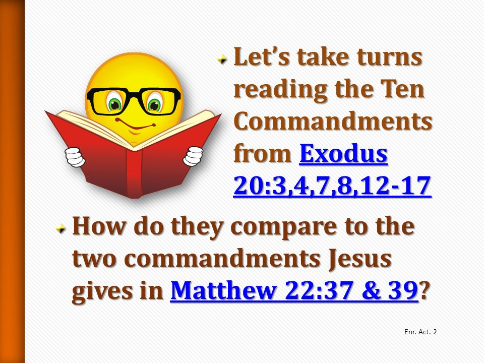 Let's take turns reading the Ten Commandments from Exodus 20:3,4,7,8,12-17
