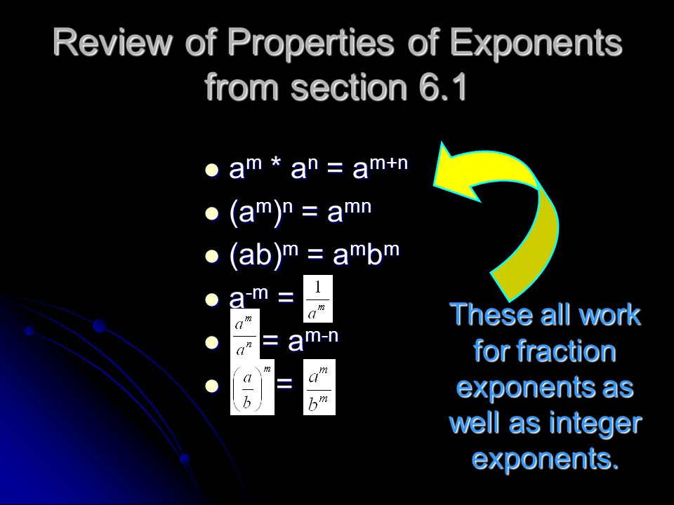 Review of Properties of Exponents from section 6.1